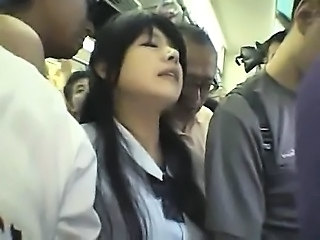 Innocent Schoolgirl gangbanged in a train
