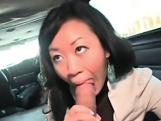 Asian cutie fellating monster dick in the bus