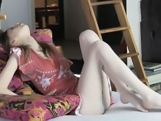 Slim gal is giving her horny pussy an intense pleasuring