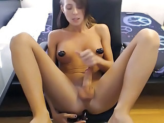 Cute skinny tranny perfect boobs playing with shaved cock