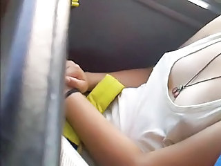 spying teen tit in bus