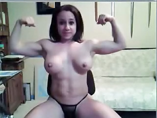 busty body builder rubs her pussy on webcam
