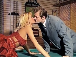 Catsuit girl joins Anita on the pool table