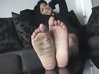 soles feet sweaty off my wife