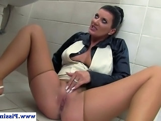 Piss drinking milf playing with cum during her public bathroom wam fuck