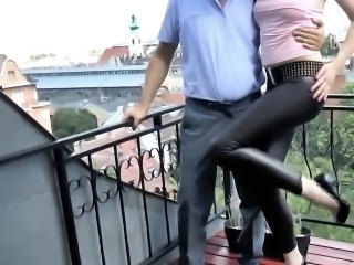Teen bent over by old guy