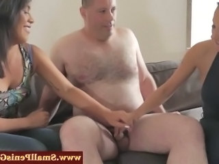 Dom babes pulling his his tiny cock until he cums