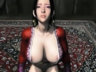 Chesty brunette 3D anime slut suck dick