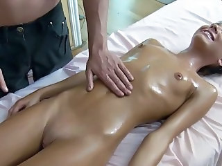 Shaved Oiled Skinny Teen Ass Tits Massage Tits Oiled