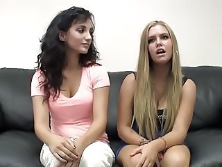 2 girls licking their pussy at casting