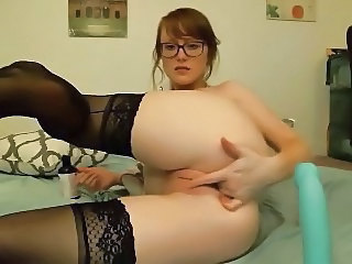 blue dildo fucks herself