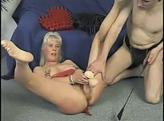 Mature couple trying out some kinky toys