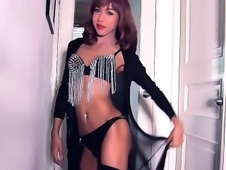 Thai ladyboy MJ takes off her lingerie