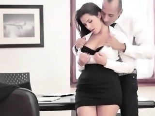 Cute italian secretary gets jizzed by boss