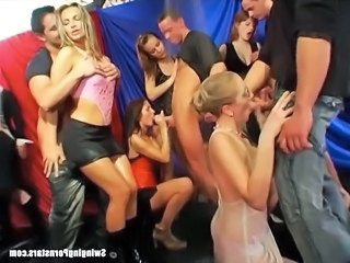 Sinfully pornstars giving blowjobs in public in a club