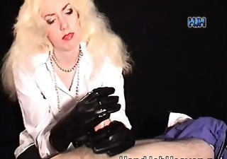 giving a handjob in enormous long gloves