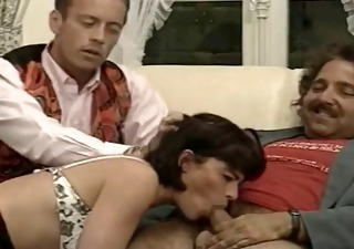Vintage French Threesome Blowjob Milf Daddy European