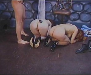 Horny lesbians perform wild BDSM in dungeon
