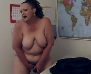 British curly BBW teacher playing solo