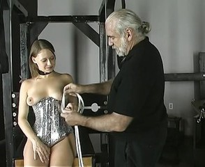 Cute perky brunette gets bound and tortured in the dungeon