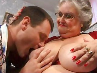 chubby grandma in brown with large tits obtains gangbanged and a facial