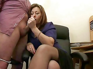 super grown-up assistant jerks the ejaculate from bosses cock !