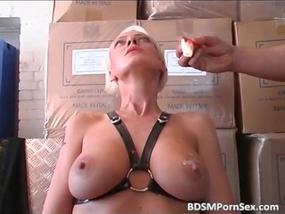 blond older angel with huge bossom is dominated