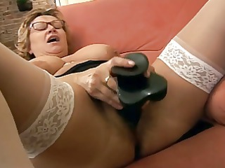 Dildo Masturbating Solo Glasses Mature Masturbating Mature Masturbating Toy