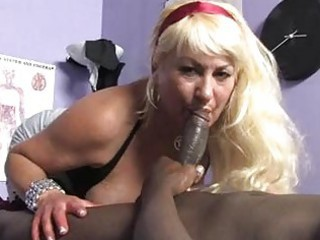 sporty blonde momma with huge boobs sucks dark meat pecker