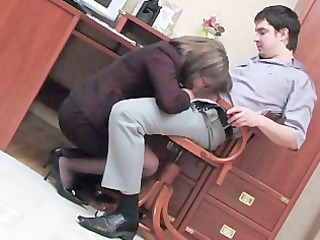 Office Mom Clothed Secretary Russian Old And Young Glasses Blowjob Old And Young Russian Mom