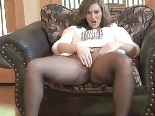 sexy milf taking off in seamless nylons