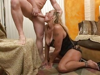 sluty blond momma into ebony gstring doing deep oral on the floor
