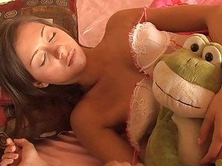 sleeping brunette young into playing panties takes boned by grownup teenager