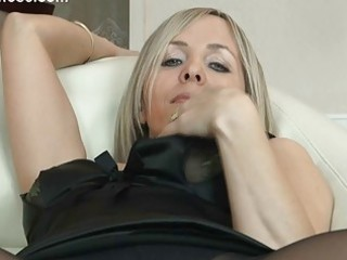 hawt golden-haired milf in hose uncovers her gazoo on ottoman