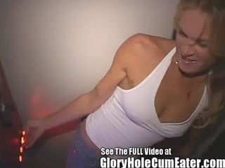 extremely impressive lady acquires all cummers bareback style inside the gloryhole
