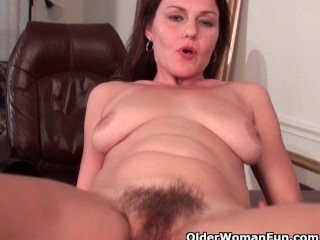 olderwomanfun;milf;mom;mommy;mother;mature;brunette;hairy-pussy;big-tits;busty;cougar;older;fingering;masturbates;masturbating;solo