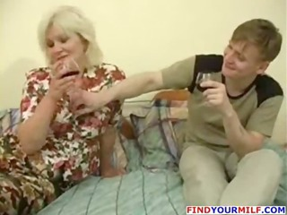drunk milf enticed by juvenile man