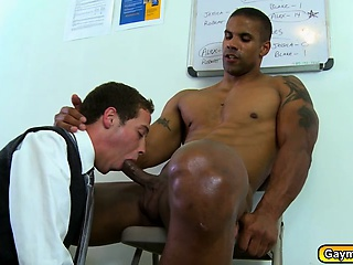 Gay blowjob and anal fucking inside the office