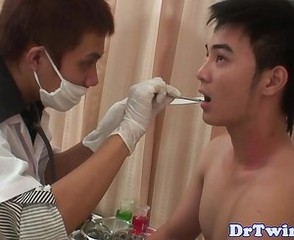 Asian twinks ass fondled by doctor
