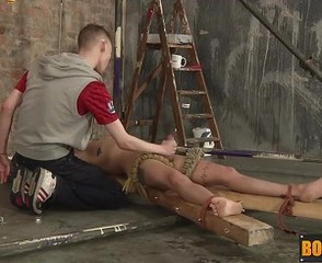 Tied up Nathan cums after Nathan hot and cold blowjob
