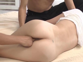 Asian model gets the finger in threeway with her two studs