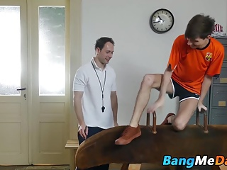 Yuri seducing his older gym teacher and swallowing his dick