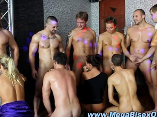Bi curious group of stud give blowjobs