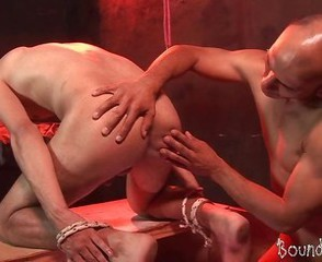 Nicely bound lad rimmed and rammed by a gay master