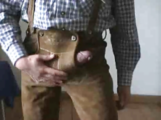 Bavarian shows off in his Lederhosen
