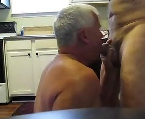 Grandpas having fun in the kitchen
