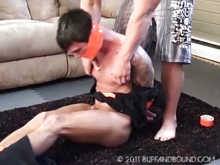 Twink Naked Bound and Tickled by Bodybuilder