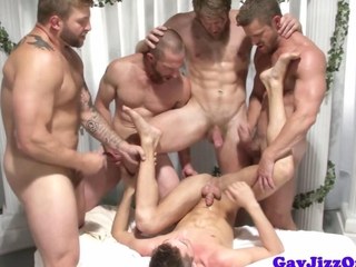 Gay orgy climax action with tugging hunks