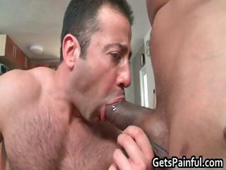 Bear having fun with massive black cock part