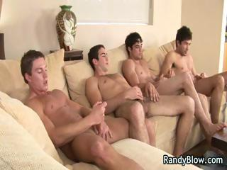 Super hot studs in gay foursome porn part